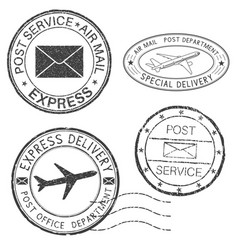Postmarks black ink round postal stamps vector