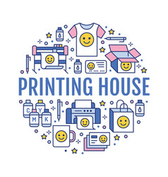 printing house circle poster with flat line icons vector image