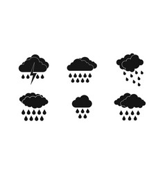 rainy cloud icon set simple style vector image