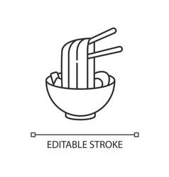 Ramen pixel perfect linear icon instant noodles vector