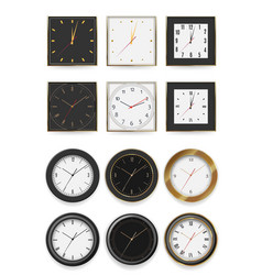 round and square wall clock dial timer collection vector image
