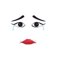 sad cartoon face vector image