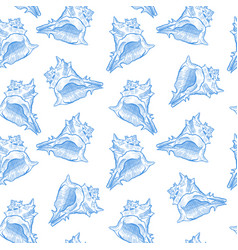 Seashell mollusk hand drawn seamless pattern vector