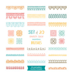 Set 20 sketch lace seamless brushes vector