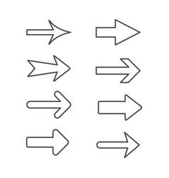 Set line outline icons arrow vector