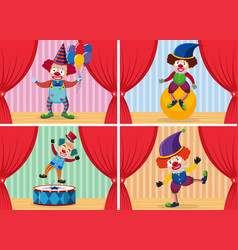 set of clown on stage vector image
