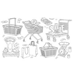 shopping doodles hand drawn set baskets and vector image