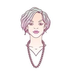 Stylish beautiful lady with jewelry vector image