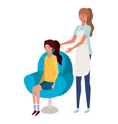 Stylist fixing hair to client characters vector