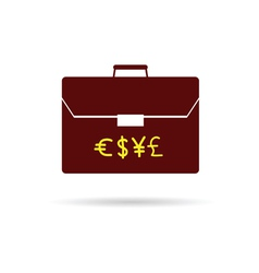 suitcase with money color vector image
