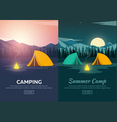 summer camp evening camp pine forest and rocky vector image