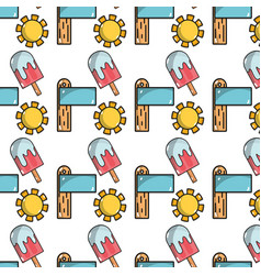 Sun with surfboard and ice lolly background icons vector