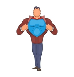 Superhero tearing his shirt icon cartoon style vector