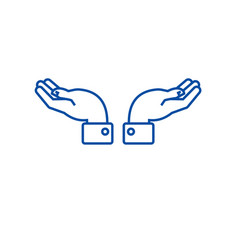support hands line icon concept support hands vector image