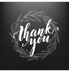 thank you card chalk drawing on blackboard vector image