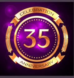 thirty five years anniversary celebration with vector image