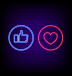 thumb up and heart buttons vector image