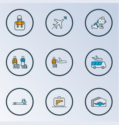 transportation icons colored line set with luggage vector image