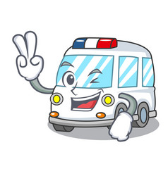 Two finger ambulance character cartoon style vector