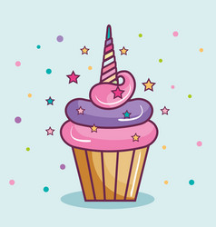 Unicorn cupcake design vector