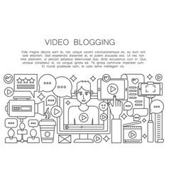 video blogger thin line concept computer screen vector image