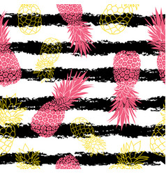 Vintage grunge pink and yellow pineapples vector