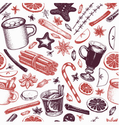 winter drinks seamless pattern hand drawn vector image