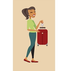 Woman cheking her suitcase weight vector