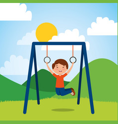 young boy hanging rings bar in the park sunny day vector image