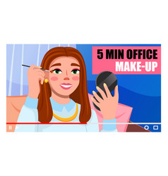 young girl beauty blogger character showing and vector image