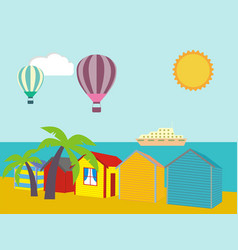 a row of beach huts against blue sky and sand and vector image vector image