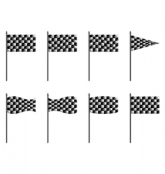 Checkered 3d flags vector