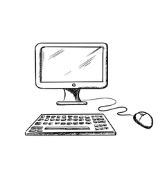 Desktop computer with mouse and keyboard vector image