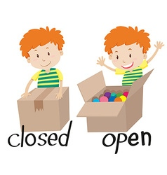Opposite adjective closed and opened vector image vector image