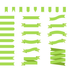 ribbons set design in green flat ribbon banners vector image