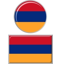 Armenian round and square icon flag vector image vector image