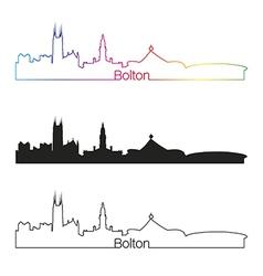 Bolton skyline linear style with rainbow vector image vector image