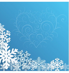 Christmas background with snowflakes and heart vector image vector image