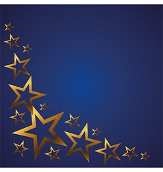 Gold stars on a blue background vector image vector image