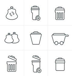 Line Icons Style Garbage Icons vector image