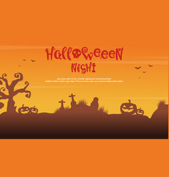Scenery silhouette tree grave for halloween vector