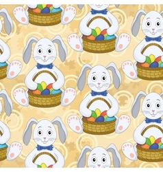 Seamless pattern Bunnies with Easter eggs vector image vector image
