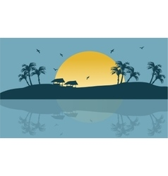 Summer holiday backgrounds scenery silhouette vector image vector image