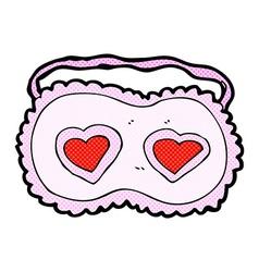Comic cartoon sleeping mask with love hearts vector