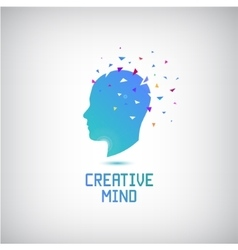 Creative mind logo head silhouette with vector