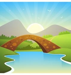 Landscape With Bridge vector image vector image