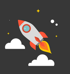 rocket flying in the sky vector image