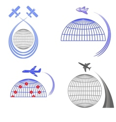 Set of Airplane Icons Summer Vacation vector image vector image