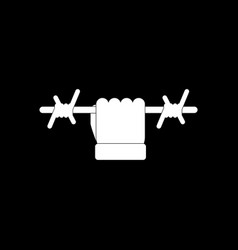 White icon on black background hand holding vector