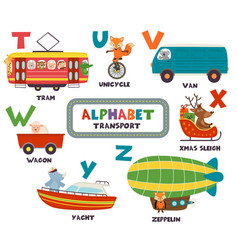 alphabet with transport and animals t to z vector image